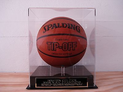 Basketball Display Case With A Boston Celtics 2008 NBA Champs Engraved Nameplate