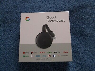 GOOGLE CHROMECAST 3rd GENERATION 1080p CHARCOAL - NEVER USED -  OUT OF BOX