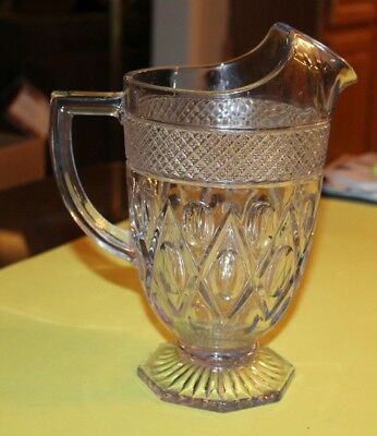 Heavy Vintage Purpled Pressed Glass Water Pitcher