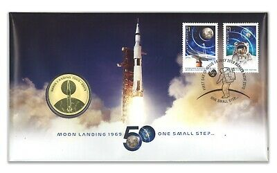 Australia 2019 Moon Landing 50 Years $1 UNC Coin & Stamps Cover PNC