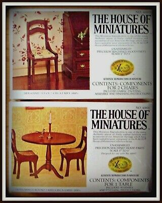 2 Doll House Of Miniatures Kits, Hepplewhite Round Pedestal Table & Side Chairs