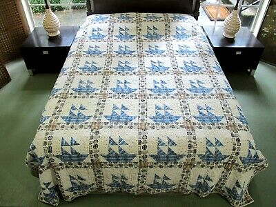 Vintage Hand Pieced Machine Quilted THE MAYFLOWER, Little Ship O'Dreams QUILT