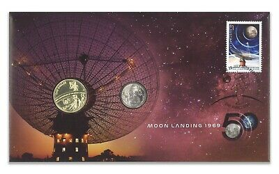 Australia 2019 Moon Landing 50 Years $1 & 5c RAM UNC Coin & Stamps Cover PNC