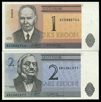 ESTONIA  1 Kroon & 2 Krooni 1992  P. 69 & 70  UNC Notes