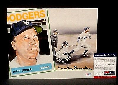 PSADNA-HOF *DUKE SNIDER* GEM MINT Signed 8x10 Baseball Lithograph Photo-DODGERS
