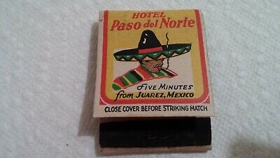 Old Vintage Matchbook Hotel Paso del Norte El Paso TX Some Matches Missing