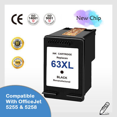 #63 XL Black Ink Cartridge for HP OfficeJet 5255 5258 4652 3830-New Chip