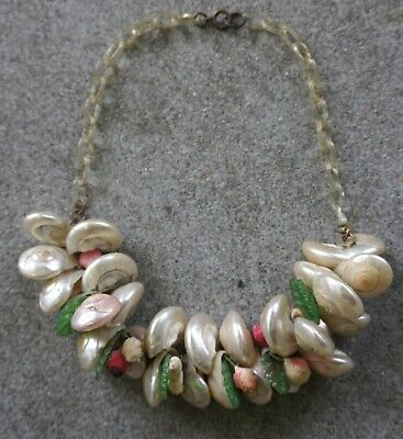 Antique Vintage Mother Pearl Sea Shell Cluster Plastic Chain Celluloid Necklace