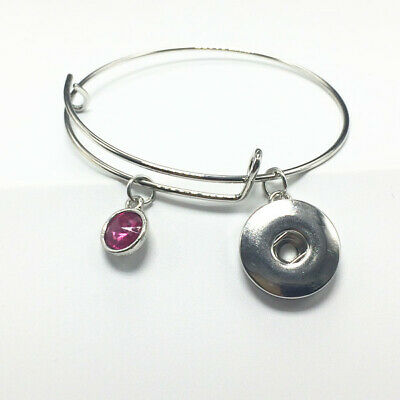 Fashion Silver Tone Expandable Wire Charm with pendant Bracelet Bangle Rose red