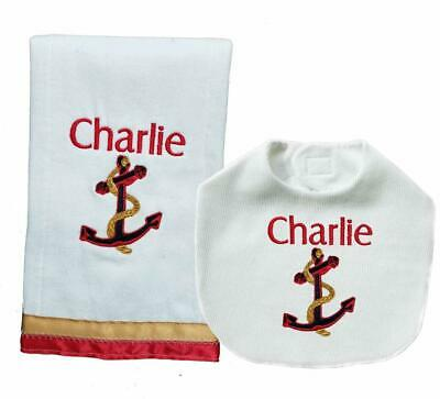 New Handmade Personalized Red Gold Nautical Anchor Bib and Burp Cloths Set