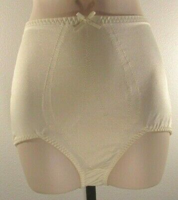 Vintage BALI Tummy Control Front Panel Shapewear Briefs Panties Ivory Women's XL