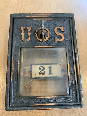 Post Office Box Door SUPER RARE 1890's With Key And Square Beveled Glass