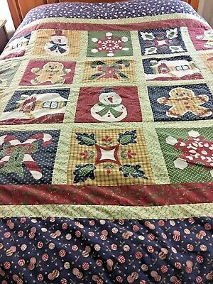 "Vintage Christmas Quilt 99"" X 89"" Snowman Candy Canes Snowflakes"