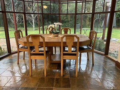 Art Deco Extension Dining Table & 6 Matching chairs. Solid Timber. French 1930's