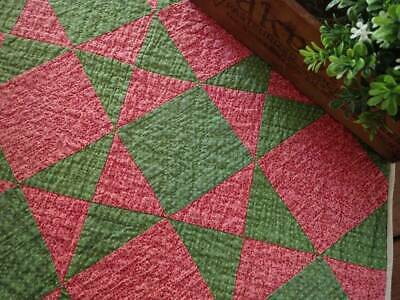 Early 1880s! Antique Red or Deep Double Pink & Green Table Quilt 22x17