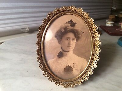Vintage Gold Filigree Picture Frame Oval Convex Glass
