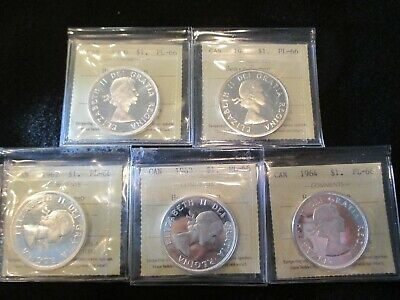 1960-61-62-63-1964 Canada Silver Diollar- All Iccs Graded Pl66 **Heavy Cameo**