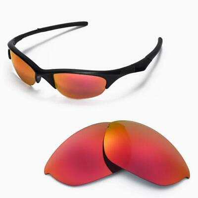 Walleva Polarized Fire Red Replacement Lenses For Oakley Half Jacket Sunglasses