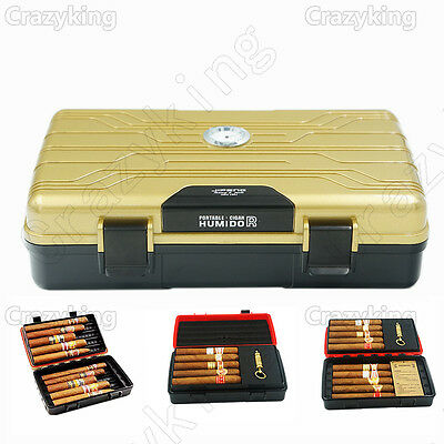 Golden Double-Deck Multifunction Travel Cigar Humidor Humidifier W Punch Cohiba
