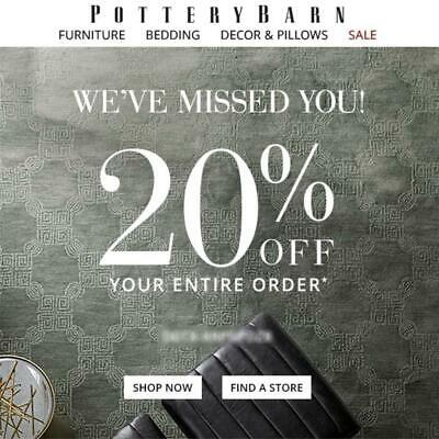 20% off POTTERY BARN promo coupon code FAST onIine or in store Exp 7/24/19 10 15