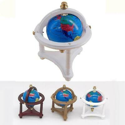 3 Color 1:12 Dollhouse Miniature Study Room World Globe With Stand New Wood H9I1