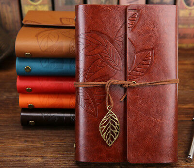 Vintage Leaf Diary Notebook Sketchbook Travel Leather Paper Journal Book A5-A7
