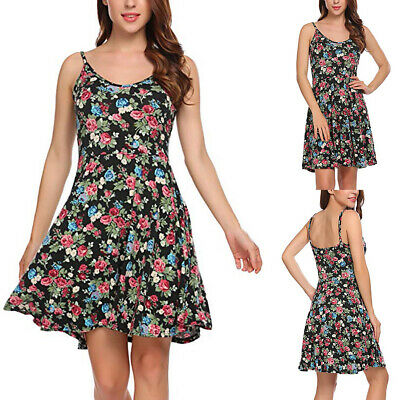 Women's Ladies Boho Summer Sexy O-Neck Flower Printed Spaghetti Strap Mini Dress
