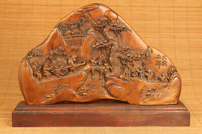 antique Chinese old boxwood hand carved bumper statue figure stand collectable