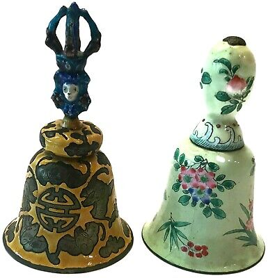 2 - Antique Enamel Chinese Bells Yellow Figural Handle & Light Green Floral Bell
