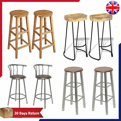 2 x Bar Stools Metal Breakfast Kitchen Chairs Wooden High Legs Seat High Quality