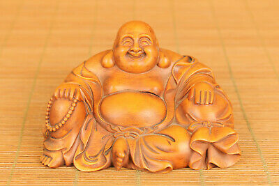 chinese old boxwood hand carved Maitreya Buddha  statue figure collectable