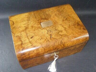 Antique Domed Burr Walnut Document Box Dated March 1879 Working Lock & Key