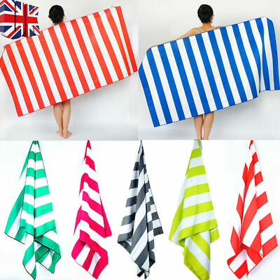 Striped Extra Large Microfibre Lightweight Beach Towel Speed Dry Travel Towel ME