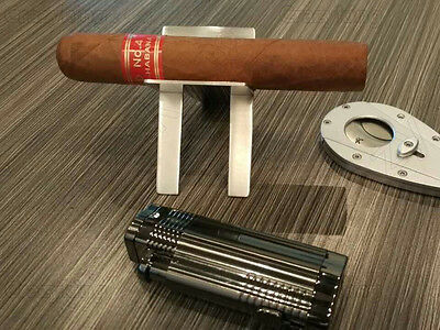 Cohiba Stainless Steel Foldable Cigar Ashtray Showing Stand Holder With Case