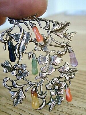 Unusual Chinese Export Silver Pin Brooch Hard Stone Fruit And Leaves Antique