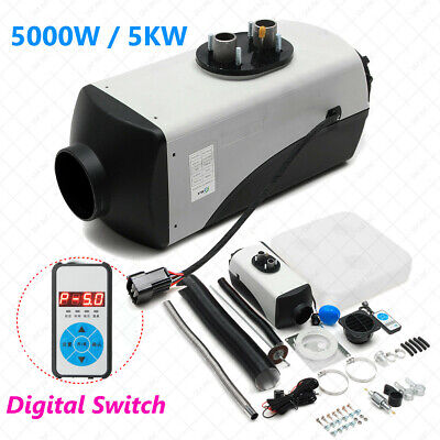 12V 5KW Diesel Air Heater 10L Tank Silencer Fliter T-Piece Digital Switch Motor