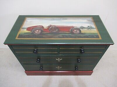 Edwardian Mahogany Hand Painted Maserati Car Picture Rare Chest Of Drawers