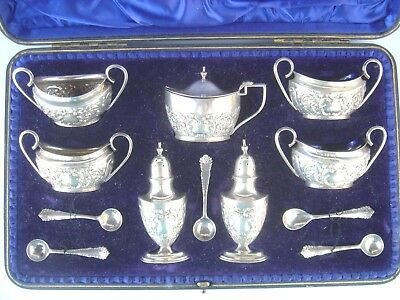 Beautiful, Sterling Silver Condiment Set, Hallmarked & Cased