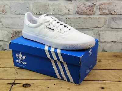 Mens Adidas 3Mc Vulc White Canvas Skater Sports Gym Active Pumps Trainers Size 9
