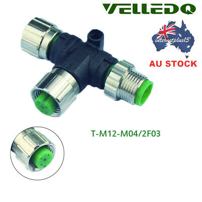 VELLEDQ T Type Splitter M12 4-Pin Male To M12 3-Pin Female Connector Adapter AU