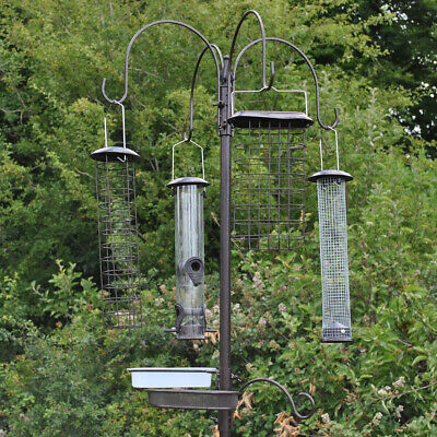Metal Complete Bird Feeding Station with 4 Large Feeders for Wild Garden Birds