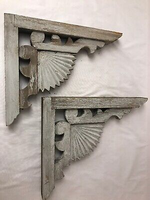 2 Victorian Wood Gingerbread House Fan Corbels Architectural Garden Salvage L2