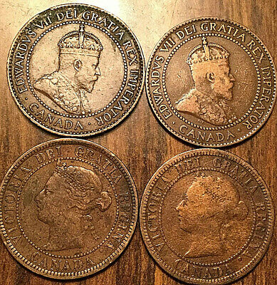 1882 1888 1906 1910 Canada Large Cent Penny Lot Of 4 Coins
