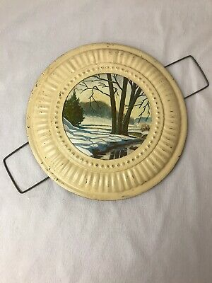 """Vintage Stove Chimney Pipe Flue Cover 8 1/8"""" Winter Stream Scene Wire Mounted"""