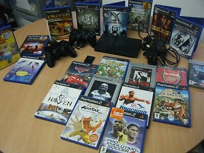 Sony Playstation 2 Slim Bundle Console 2 Controllers Memory Card And 20 Games