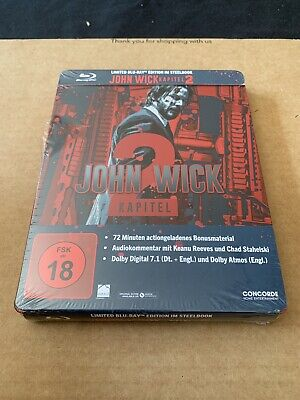 John Wick Chapter 2 Steelbook Bluray Import NEW & SEALED Keanu Reeves