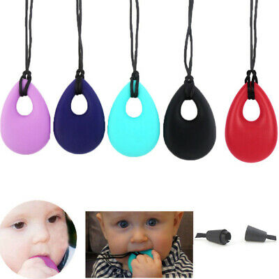 Kids Teardrop Pendant Baby Teething Bite Chew Necklace Soft Silicone Teether Toy