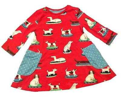 Ex Mini Boden Girls Kids Dog Printed Tunic Dress Age 2 - 12 Years (i34.1)