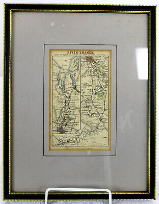 OLD MAP OF The Thames from London to Oxford in a FRAME WITH FREE POSTAGE