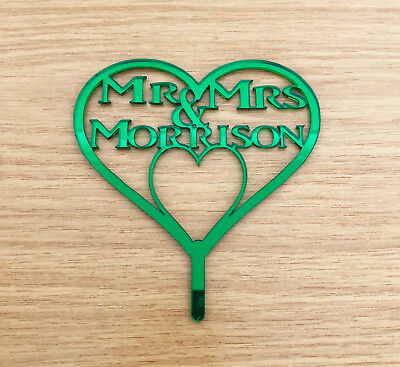 Personalised Mr & Mrs Wedding Heart Cake Topper/Anniv Cakes Green Mirror Acrylic